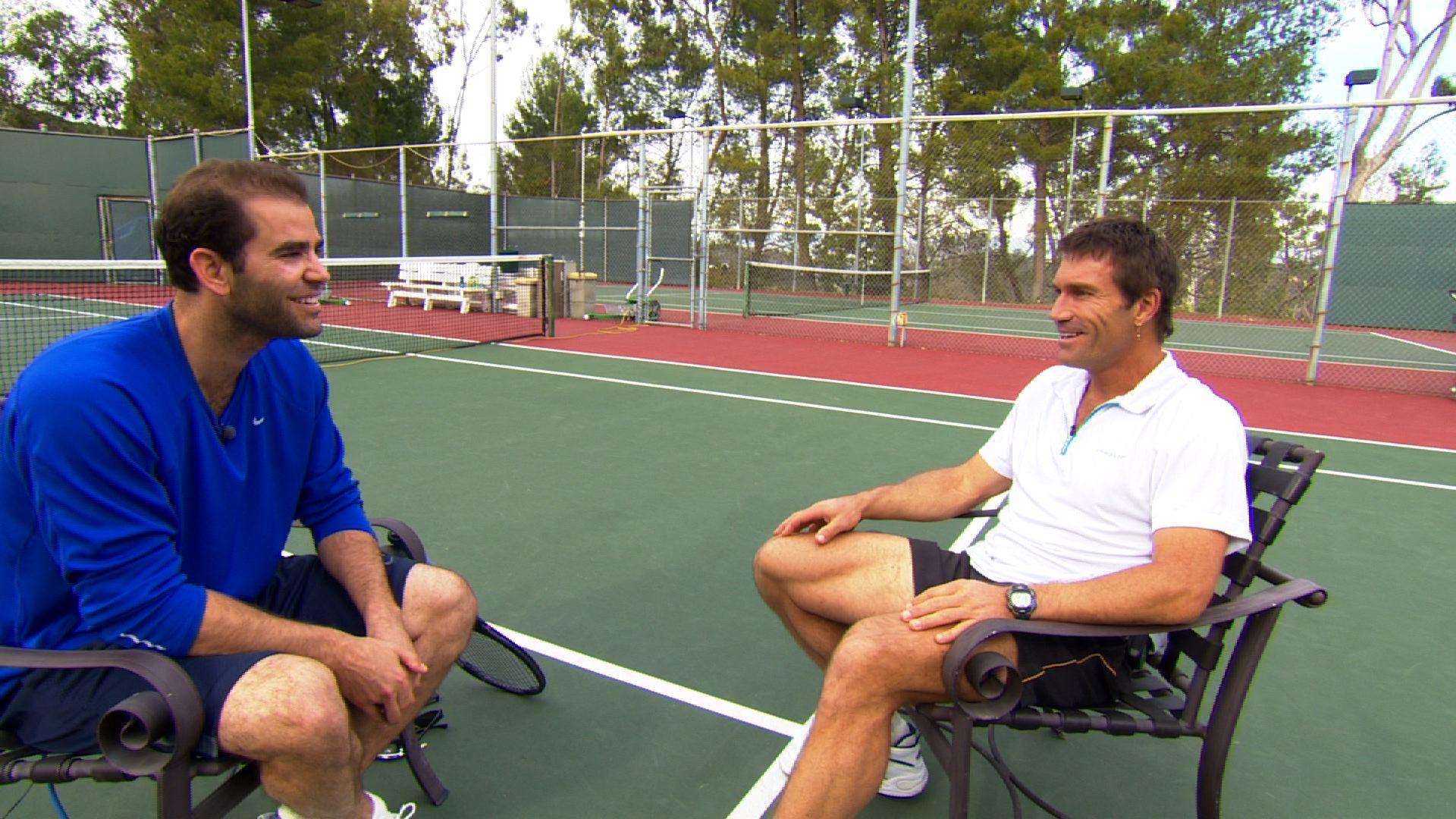 Pete Sampras (left)  sits down with Open Court host, Pat Cash