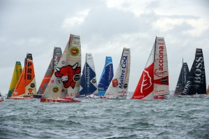 Skippers begin the race on their monohulls at the start of the 7th edition of the Vendee Globe. Credit: Damien Mayer/AFP/Getty Images