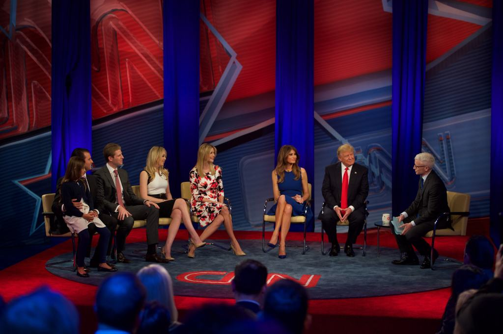 Donald Trump, wife Melania Trump and children; (l-r) Donald Trump, Jr. Eric Trump, Tiffany Trump and Ivanka Trump join Anderson Cooper for a CNN Town Hall on Tuesday, April 12, 2016 at the Time Warner Center in New York. (Nancy Borowick for CNN)
