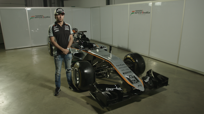 Sergio Perez with his F1 car